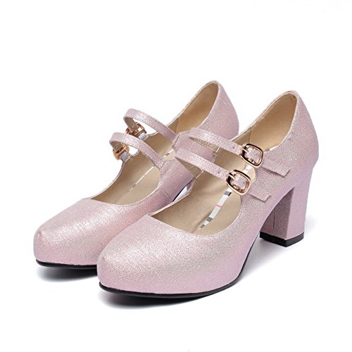 AllhqFashion Womens Blend Materials High Heels Round Closed Toe Solid Buckle Pumps-Shoes Pink pSlC7N0uI