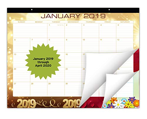 - Large Festive Desk Calendar 2019 | January 2019 - April 2020 (16 Months) | Monthly Planner with Beautiful Monthly Design | Desktop Organizer Pad for Home, Office, and Wall Décor | 22 x17