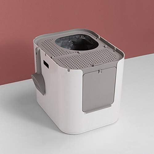猫トイレ 猫のトイレボックス完全に囲まれた脱臭スプラッシュ防止トップエントリ半密閉型猫のトイレペット用品 LJJJP (Color : 白, Size : フリー)