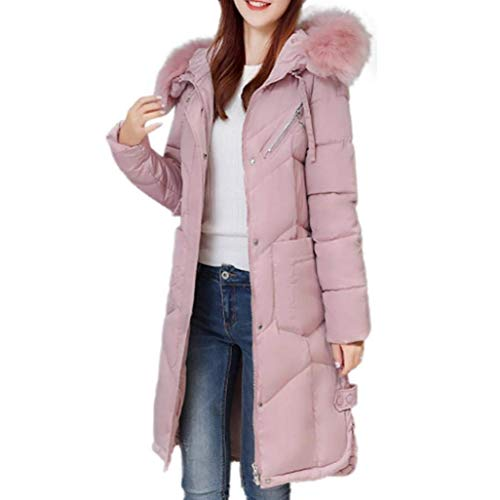 Adelina Venmo Ms. Thick Winter Slim Fit Mode Lammy Jacket Down Long Coat Outwear Mid-Length Section Jacket Basic Down Jacket Coat Cotton Jacket Thick Winter Jacket Quilted Men's Tern Pink