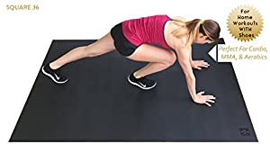 "Large Exercise Mat 78"" Long x 48"" Wide (6.5'x4') x 7mm Thick. Includes A Storage Bag and Storage Straps. Perfect For Cardio, Plyometric, MMA, & Aerobic Workouts. Square36 from Square36"