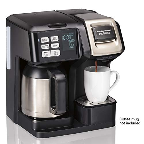 Hamilton Beach (49966) FlexBrew Coffee Maker with Thermal Carafe, Single Serve & Full Coffee Pot, Compatible with Single-Serve Pods or Ground Coffee, Programmable, Stainless Steel