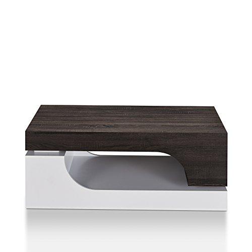HOMES: Inside + Out YNJ-16918C2 Jepson Modern Coffee Table, Distressed Dark Walnut/White