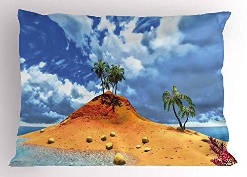Ustcyla Island Pillow Sham, Tropical Island and Palms