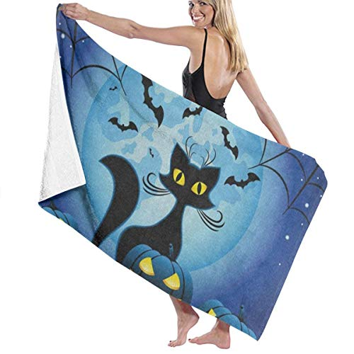 Beach Bath Towel Halloween Kitten Personalized Custom Women Men Quick Dry Lightweight Beach & Bath Blanket Great for Beach Trips, Pool, Swimming and Camping 31