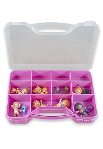Toozie Case Toy Storage Box - Portable Plastic Organizer Carrying Case - Holds Twozies Babies and Pets, Arts and Crafts, Collectibles and More - Lightweight, Secure Snap Design