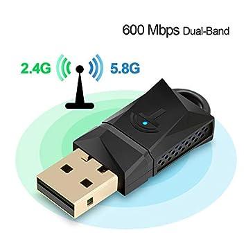Adaptador de Dongle de 600Mbps USB WiFi, Tarjeta de LAN de ...