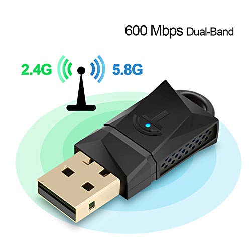600Mbps USB WiFi Dongle Adapter, Dual Band USB Wireless Network LAN Card for PC Desktop Laptop Tablet 802.11A/G/N/Ac from DZSF