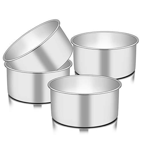 """TeamFar 6 Inch Cake Pan, 6"""" x 3"""" Deep Round Cake Pan Tier Baking Pans Set Stainless Steel, For Baking Steaming Serving…"""