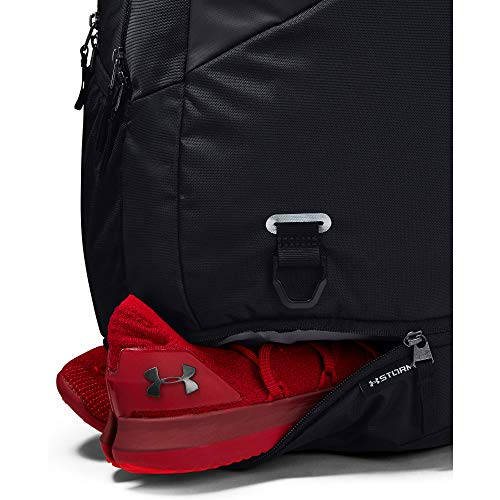 41ej6k7TPNL - Under Armour Hustle 4.0 Backpack, Black (001)/Silver, One Size Fits All