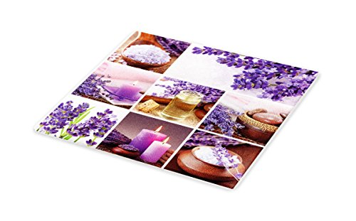 Lunarable Spa Cutting Board, Lavender Garden Alike Themed Relaxing Candles Stones Herbal Salt Elements Image, Decorative Tempered Glass Cutting and Serving Board, Small Size, Purple and White by Lunarable (Image #1)