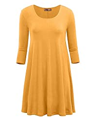 OLLIE ARNES Women's Plus Size 3/4 Sleeve Swing Tunic Dress With Side Pocket