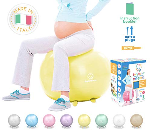 Baby Bump | Birth Ball with Base Legs - Stability/Balance/Stand, Anti-Burst with Pump, Exercise During Pregnancy, Prenatal Fitness, Induces Labor, Soothes Babies - 65 cm - Beeswax Yellow