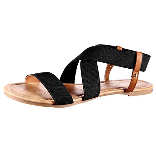 Elastic Flat Women's Black Sandals MuDan Hw5vB0qxn