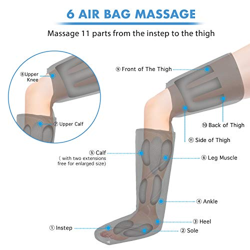 CINCOM Leg Air Compression Massager for Foot Calf Thigh Upgrade Leg Wraps with Portable Handheld Controller and 2…