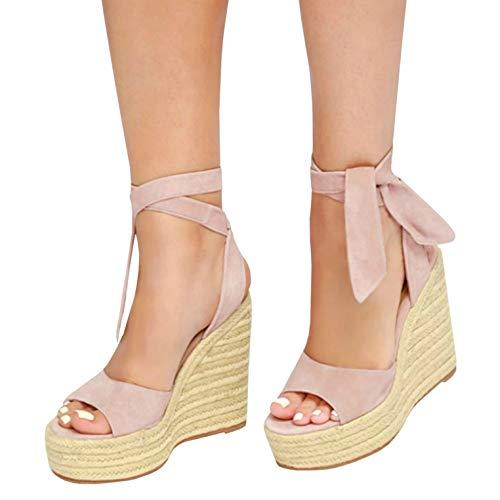 Soft Pink Shade - Ermonn Womens Peep Toe Platform Wedge Sandals Espadrille Ankle Strap Mid Heel Braided Sandals (9.5 B(M) US, Z-Pink)