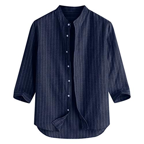 (POHOK Men 3/4 Tops Summer Men's Casual Striped Stand Collar 7 Points Sleeve Button Cotton Shirt Tops(L,Navy)