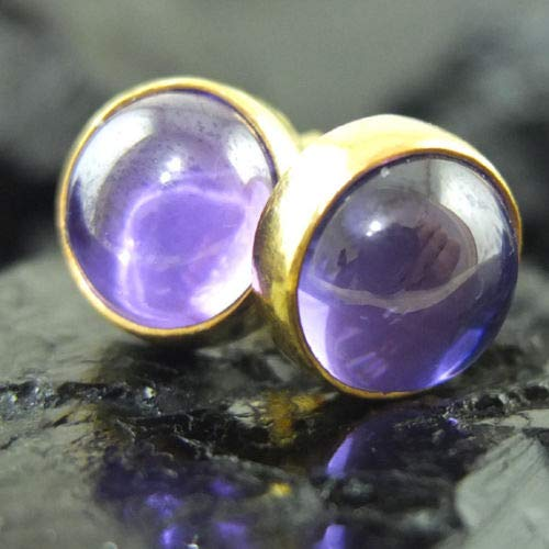 Ancient Design Jewelry Handmade Designer Cabochon Amethyst Stud Earring 22K Gold over Sterling Silver