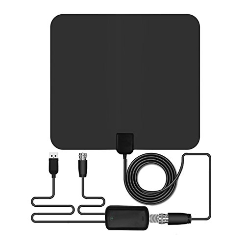 Amplified Indoor TV Antenna, OUREIDA 50 Mile HDTV Antenna 1080P HD Digital TV Antenna with Detachable Amplifier and 13FT Coaxial Cable - Black