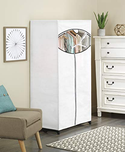 Whitmor, Clothes Closet with white fabric cover - bedroomdesign.us