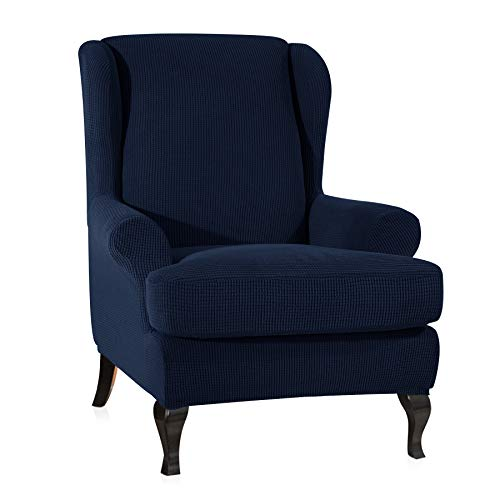 CHUN YI 2-Piece Stretch Jacquard Spandex Fabric Wing Back Wingback Armchair Chair Slipcovers (Dark Blue, Wing Chair)