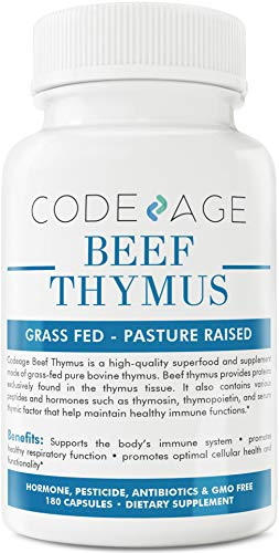 Codeage Thymus Grass Fed Glandular, Supports Immune and Allergy Health, 3000mg per Servings, 180 Capsules
