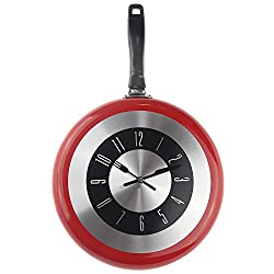 Wall Clock, 12 inch Metal Frying Pan Kitchen Wall Clock Home Decor - Kitchen Themed Unique Wall Clock with a Screwdriver (Red)