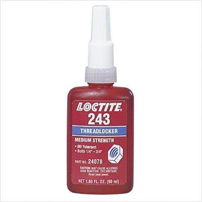 243 Threadlocker - 243 Threadlocker, Medium Strength/Oil Resistant Style: Cap. Vol.:50 mL, Pkg Bottle, Price for 1 Bottle