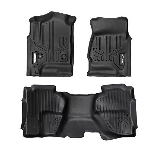 MAXFLOORMAT Floor Mats for Chevrolet Silverado / GMC Sierra Double Cab (Extended) (2014-2017) Complete Set (Black)
