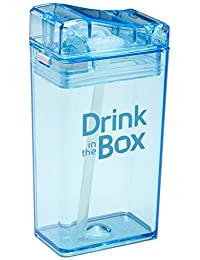 Drink in the Box Eco-Friendly Reusable Drink and Juice Box Container, Designed in Canada, 8oz (Blue)