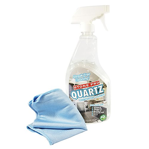 Stone Pro ECO Friendly QUARTZ Streak Free Countertop Cleaner 1 Quart - For Use On Granite, Marble, Porcelain, Tile - Comes with Microfiber Rag