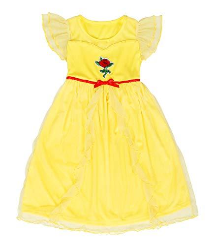 Nightie Nightgown - AmzBarley Princess Belle Nightshirt Dress Girls Nightgown Fancy Nightie Kids Casual Long Dresses Sleepwear Birthday Party Cosplay Costume Clothes Yellow Size 6(5-6Years)