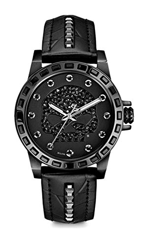 Harley-Davidson Women's Black Stainless Steel Watch | Willie G Skull | Swarovski Crystals