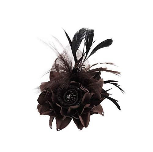 ACTLATI Fascinator Hat for Women Cocktail Charming Big Flower Headband Netting Mesh Hair Clip Tea Party Kentucky Derby (Brown)]()