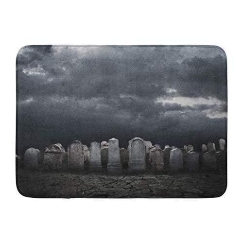 (Ptrfedss Doormats Bath Rugs Outdoor Mat Cemetery Graveyard at Night Halloween Grave Zombie Death Tombstone Bathroom Decor Rug 23.6