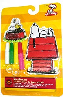 Peanuts Suncatchers (Snoopy on Dog House and Woodstock) Colorbok Paint Crafts for Kids Ages 6+