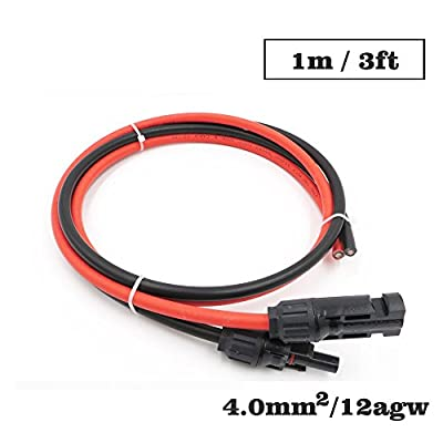 1Pair x 4mm2 12AWG 1m 2m 3m 5m 10m MC4 Connector Extension Connect Branch red black Parallel Series Extend Cable