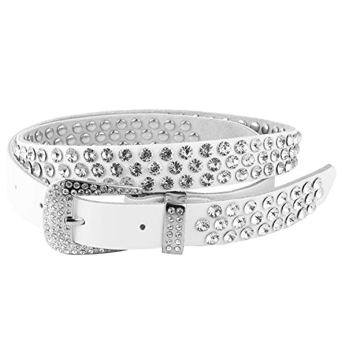 HZMAN Ladies Fashion Studded Western Crystal Berry Rhinestone Bling Cowgirl Leather Belt (White - 3 - White Western Belt Rhinestone