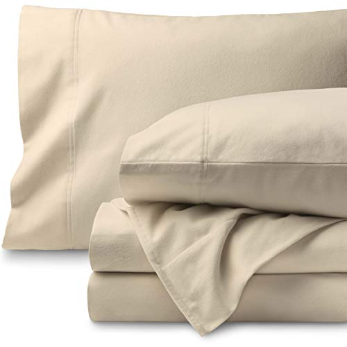 (Bare Home Flannel Sheet Set 100% Cotton, Velvety Soft Heavyweight - Double Brushed Flannel - Deep Pocket (Queen, Sand))