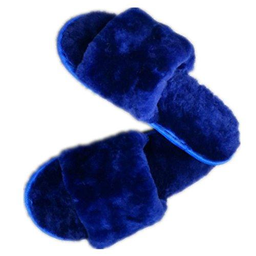 Women's Home Slipper Blue Fashion Slides Wool qmfur Slippers Fur Comfort POEYH