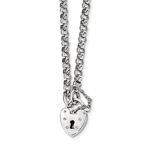 (925 Sterling Silver 16 Inch Heart Lock Rolo Chain Necklace Pendant Charm S/love Fine Jewelry Gifts For Women For Her)