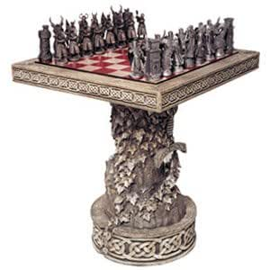 Arthurian Chess Table with Display Base by Les Etains du Graal