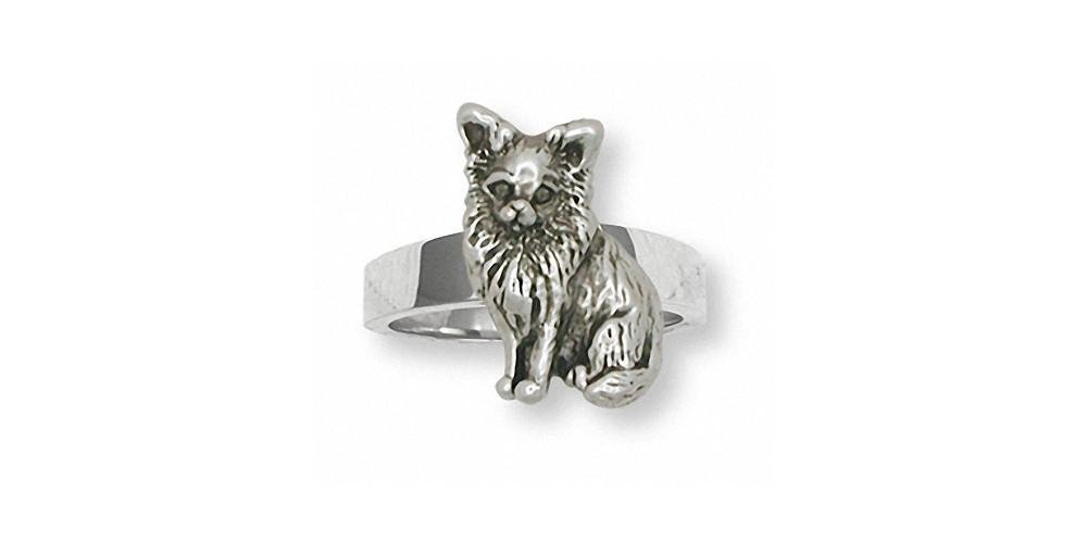 Long Hair Chihuahua Ring Jewelry Sterling Silver Handmade Dog Ring CU8-R