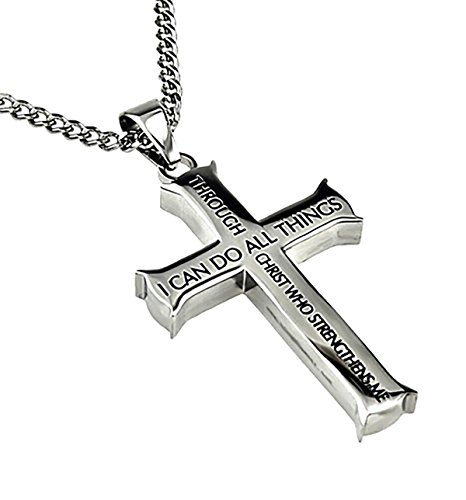Philippians 4:13 Iron Cross Silver Necklace Stainless Steel Christian Jewelry 20
