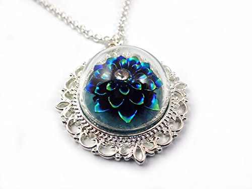 Black Dahlia Costume (Rainbow Blue Black Dahlia Flower Pendant Glass Dome Silver Necklace 20 In Fairy Tale Wedding Jewelry)