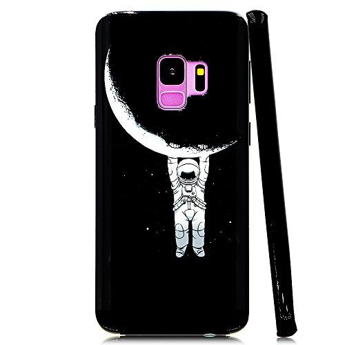 Lartin Astronaut Hanging on Moon Soft Flexible Jellybean Gel TPU Case for Samsung Galaxy S9