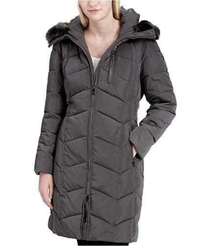 Calvin Klein Women's Faux-Fur-Trim Hooded Chevron Down Puffer Coat Dark Silver XXS