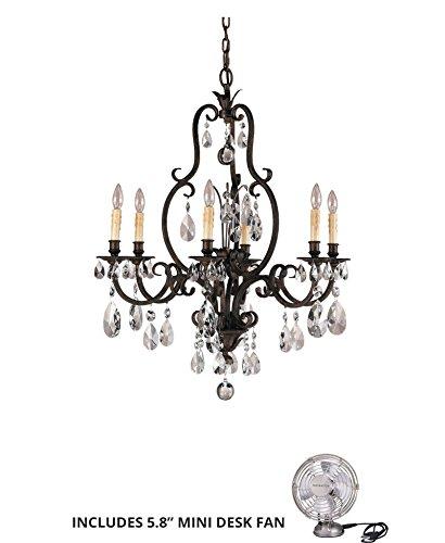 (Feiss F2228/6ATS, Salon Maison Crystal Chandelier Lighting, 6LT, 360watt, Tortoise (Includes Mini Desk Fan) )