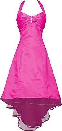 Medons Womens Plus Size Satin Halter Bridesmaid Prom Dresses XL Fuchsia