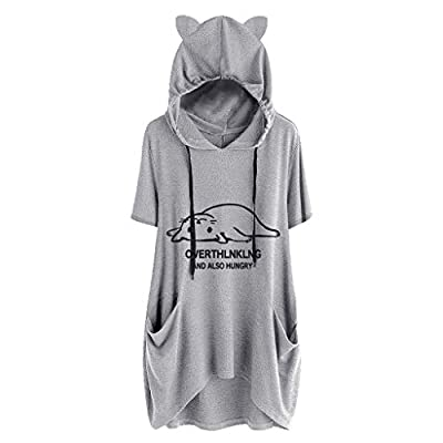 Sunmoot Clearance Sale Plus Size Tops Womens Hooded Blouse Girls Casual Cartoon Print Short Sleeve Pockets T Shirt Tunic